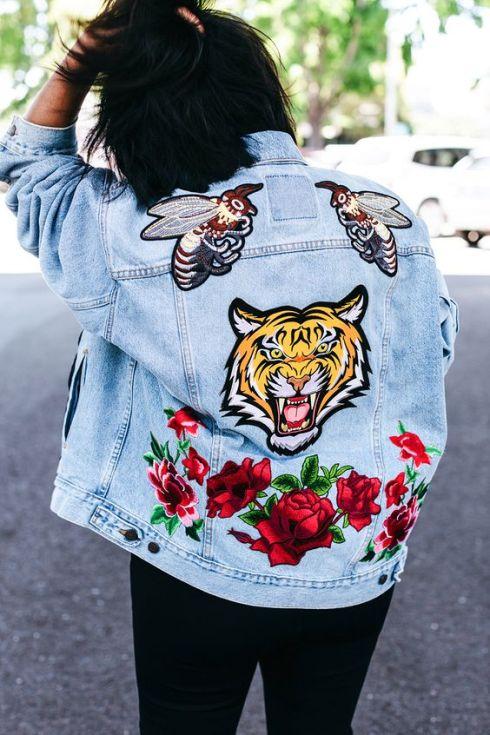 denim jacket with flowers
